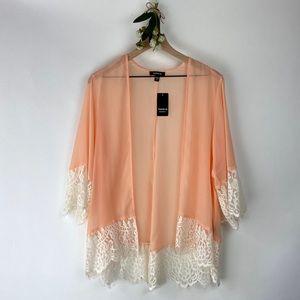 Torrid Sheer Pink Cardigan Size 00/0